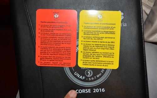 une manière d'aider les arbitres sur les motifs des cartons
